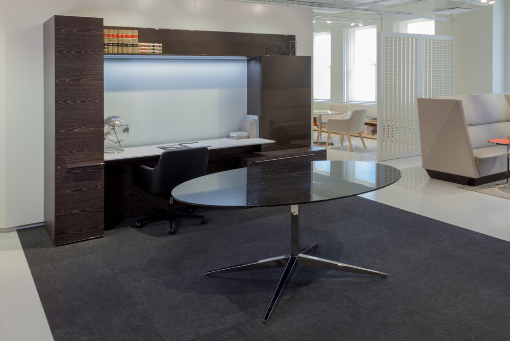 Decca London // Decca Contract // Luxurious bespoke furniture for executive offices // Work Wall Unit with a height adjustable desk