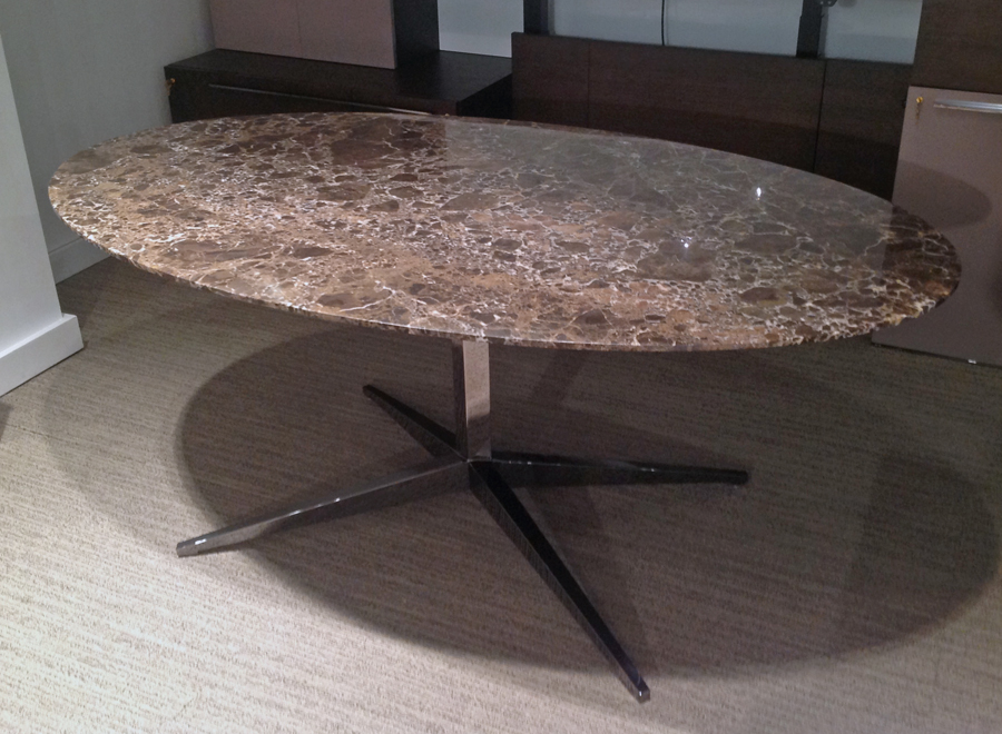 Decca London // Decca Contract // Luxurious bespoke furniture for executive offices // Oval Meeting Table with marble top and polished stainless steel base