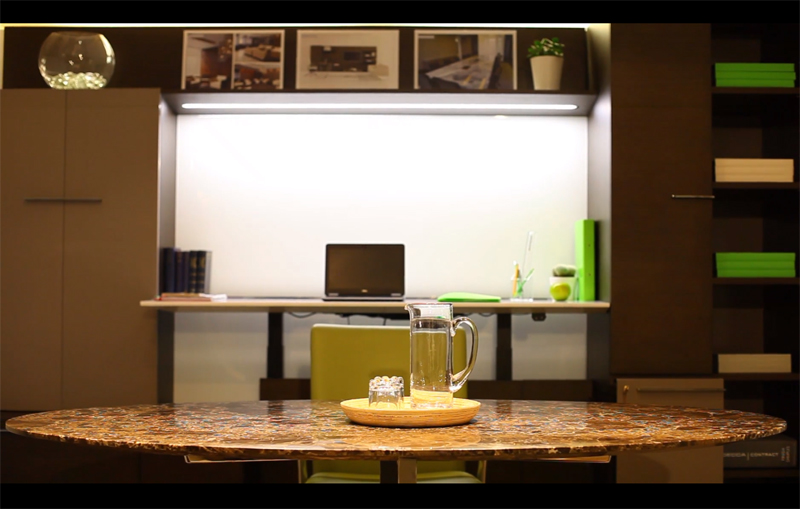 Decca London // Decca Contract // Work Wall Unit with Height Adjustable Desk and a marble topped Dialogue Meeting Table