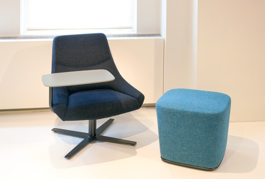 Decca London // Decca Contract by Decca // Bing Work Lounge chair with tablet arm // Luxury office furniture