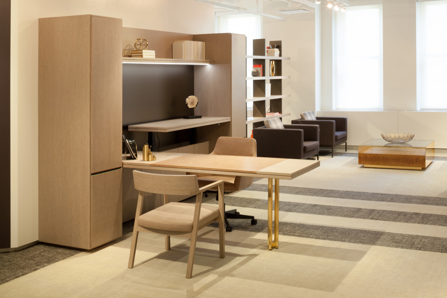 Decca Contract // Decca London // GL Work Wall Unit with Height Adjustable Desk with signature metal leg // Luxury Executive office // Luxury CEO office