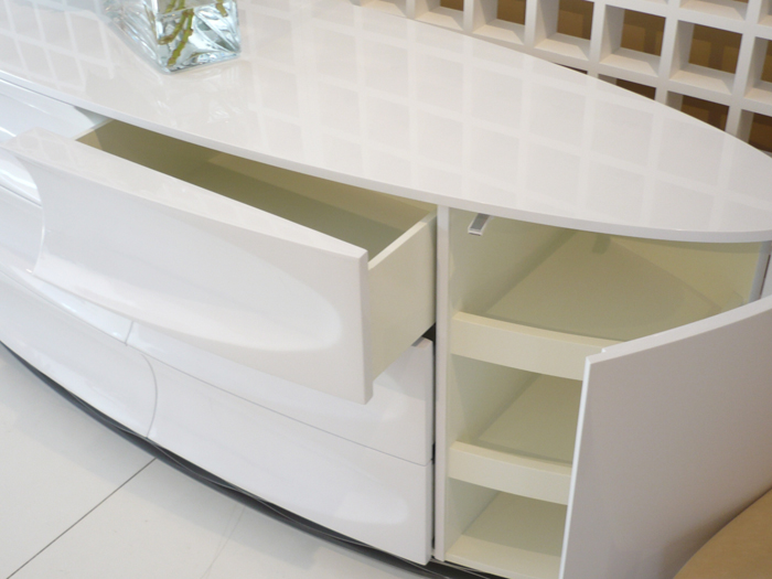 Decca London // Signet Collection by Dakota Jackson // Signet Credenza in Glacier White Lacquer Finish // Modern Interiors